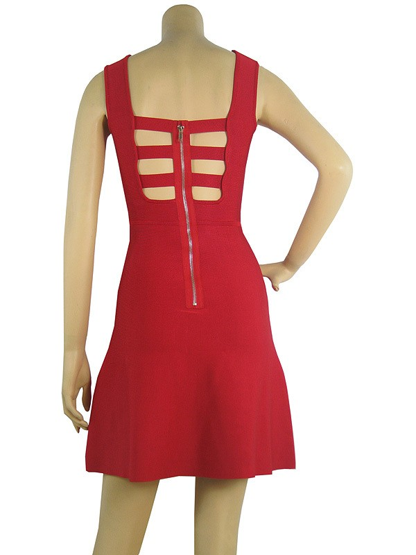 Herve Leger Red U Neckline A Line Backless Dress